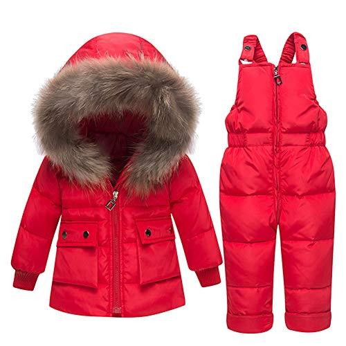 NXLWXN Baby Jongens Meisjes Sneeuwpak, Unisex Baby Winter Outfit Hooded Sneeuwpak Dons Jas met Sneeuw Ski Bib Broek Outfits