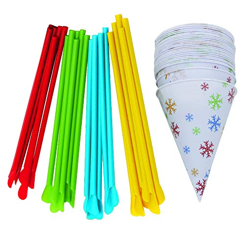 Time for Treats VKP1125 Snow Cone Cups and Straws, small, Multicolor
