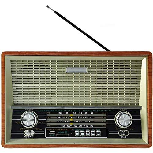 Angelay-Tian Radio de Vintage Radio FM con Estilo clásico Antiguo, Mejora de Bajos Fuerte, Disco U Dish / MP3 Radio Multifuncional de 4 Bandas portátil