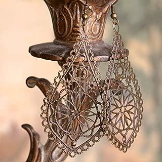 Boho Earrings, Filigree Earrings, Bohemian Earrings, Antique Brass Earrings, Long Earrings, Lightweight Earrings, Boho Jewelry, Boho Chic Statement Earrings