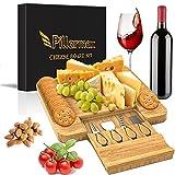 Pillarmax Tabla de queso/charcuterie con ranura para galletas y cajón con cubiertos Set a – Regalo de Navidad Distintivo Plato de servir para desayuno
