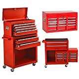 Big Rolling Tool Chest 8 Drawer Rolling Tool Chest Portable Tool Box Organizer, Garage Cabinets Organizers with Wheels Tool Storage for Warehouse,Garage,Repair Shop (Red)