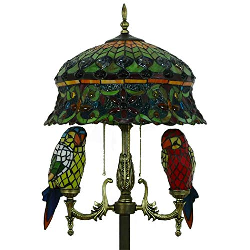 LHFJ Weinlese-Pfau-Endstück-Grün-Buntglas Shade Stehen Stehlampe Tiffany-Art-Papagei Schmetterling Boden Lesebeleuchtung zum Schlafzimmer Wohnzimmer, Sofa, Study Room,Parrot