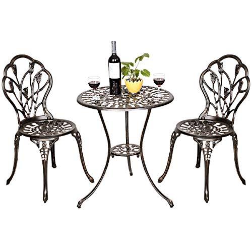 COSTWAY 3tlg. Bistroset, Balkonset aus Aluminiumguss, Gartenset antik, Gartentisch mit 2 Stühlen