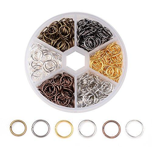 PandaHall 1 Kasten 8x1mm Messing Spaltring Biegering Federringe Ringe für Schmucksache Herstellung Gemischte Farbe