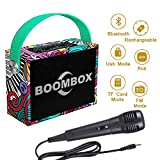 FillADream Kids Bluetooth Karaoke Machine, Wooden Cartoon Plated Rechargeable Wireless Speaker Music Box MP3 Player with Microphone for Party Birthday Gift (Cartoon Plated, M7)