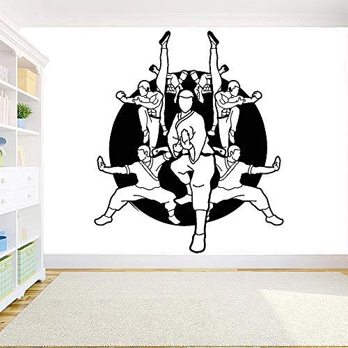 jiushivr Karate Kämpfer Vinyl Wandtattoo Schule Kampfkunst Sport Karate Gym Wandaufkleber Abnehmbare Raumdekoration Zubehör 98x84cm