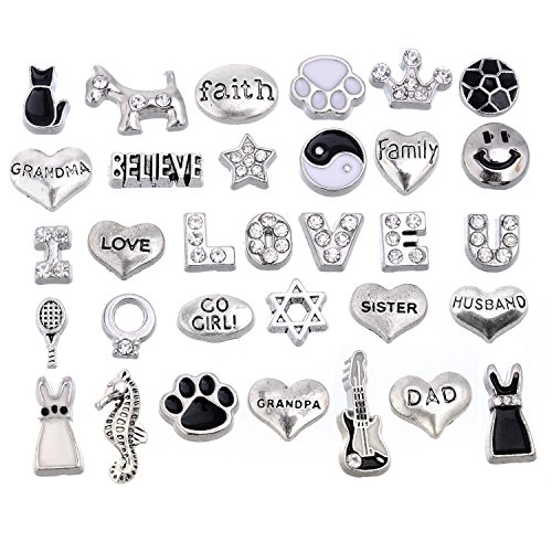 RUBYCA 64pcs Mix Floating Charms Lot for Glass Living Memory Lockets Black and White Silver Color by RUBYCA