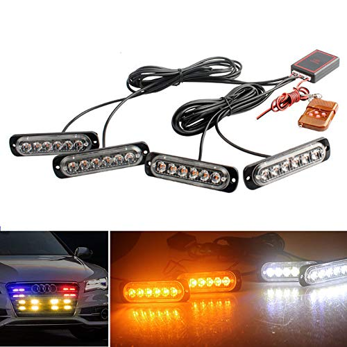 LED Emergency Strobe Lights DIBMS 4x Amber White 6 LED 4 IN 1 Sync Surface Mount Warning Flashing Caution Construction Hazard Light Bar With Remote Control For Car Truck Van Off Road Vehicle ATV SUV