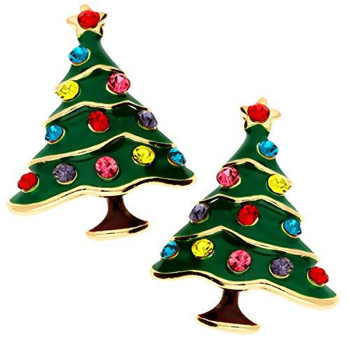 MYA art Damen Mädchen Weihnachts Ohrringe Ohrstecker Weihnachtsbaum Christbaumkugel Kristallen Grün Gold Bunt MYA-MODOHR-1