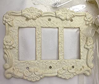 Antique White Cast Iron Triple Toggle Rocker Switch Cover Plate