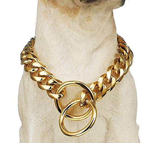 BMusdog Chain Dog Collar 18K Gold Cuban Link Chain Stainless Steel Metal Links 15MM Heavy Duty Walking Training Chain Choke Collar for Small Medium Large Dogs(15MM, 16')