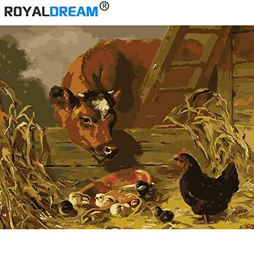 Koeien en kippendigitaaldoor digitale moderne wall art foto's voor dewall art werken45CMx60CM no frame