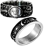 2PCS/Package Different Type Sun Moon Star Statement Rings Stainless Steel Boho Jewelry for Men And Women With Exquisite Jewelry Box (Silver, 8)