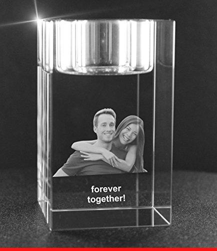 VIP-LASER 2D Gravur Glas Kristall Teelichthalter Teelicht Halter mit dem Foto Deines Freundes, deiner Freundin oder Deinen Freunden graviert. Dein Wunschfoto für die Ewigkeit Mitten in Glas!