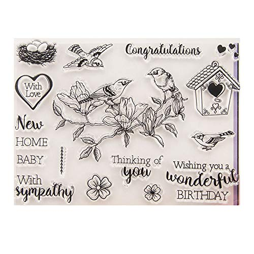 Thinking of You with Love Congratulations Greetings Phrase Birds Home Stamp Rubber Clear Stamp/Seal Scrapbook/Photo Album Decorative Card Making Clear Stamps