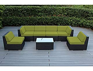 Ohana 7-Piece Outdoor Patio Furniture Sectional Conversation Set, Black Wicker with Peridot Cushions - No Assembly with Free Patio Cover