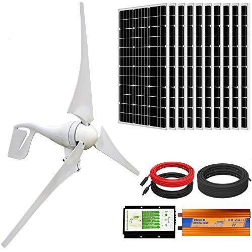 ECO-WORTHY 1400W Wind Solar Power Kit: 400W DC 24V Wind Turbine Generator 3 Blade with Controller & 10pcs 100W Mono Solar Panels & 3000W 24V-110V Off Grid Inverter for Home, Boat, RV