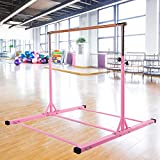 Dai&F Gymnastics Bar for Kids, Height Adjustable Junior Training Bar, Horizontal Kip Bar Ideal for Gymnasts 1-4 Levels for Home, 300 lbs Weight Capacity Pink
