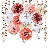Decoración de fiesta de oro rosa farolillos de flores Pom Pom con pegatinas mariposa 3D guirnalda de hojas Banner para boda, compromiso, ducha, despedida de soltera decoración para fiestas suministros