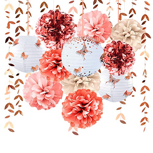 Rose Gold Party Decoration Kit Lanterns Flower Pom Poms with 3D Butterfly Stickers Leaf Garland Banner for Birthday Wedding Engagement Baby Shower Bridal Shower Bachelorette Party Decorations Supplies