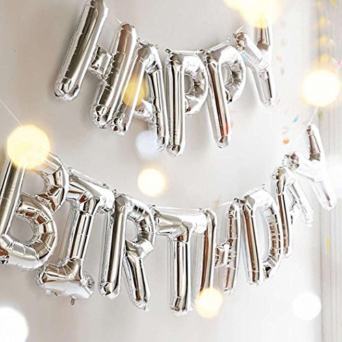 Outgeek Happy Birthday Balloons, Happy Birthday Banner Foil Letters Balloons Mylar Balloons for Birthday Party Decoration