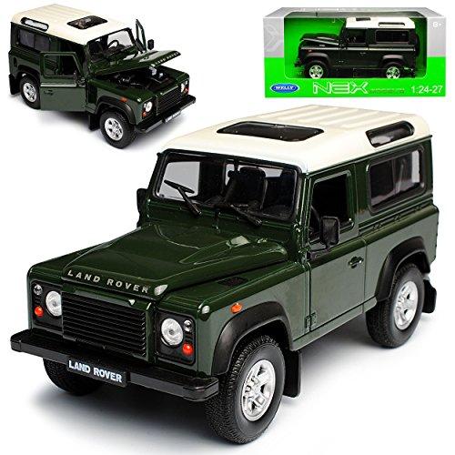 Welly Land Rover Defender 90 Grün mit Weissem Dach 3 Türer 1/24 Modell Auto mit individiuellem Wunschkennzeichen