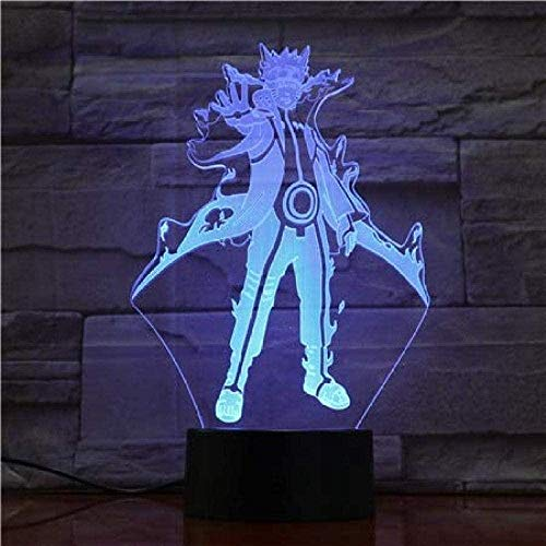 Naruto 7 Colores cambiante lámpara de proyección de mesa USB de dibujos animados Uzumaki Naruto sasu kekakash Luz led Figura de acción juguetes l