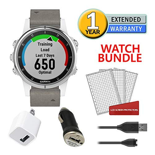 Garmin Fenix 5S Plus Training GPS (42mm) (White with Suede Band) Running Watch Bundle with Charger + Screen Protectors + More 2