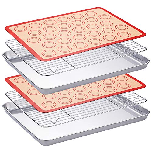 WEZVIX Stainless Steel Baking Sheet with Cooling Rack Set of two Baking Tray with Wire Rack Rectangle Size 16 x 12 x 1 inch, Non Toxic, Rust Free & Less Stick, Heavy Duty & Easy Clean, Dishwasher Safe