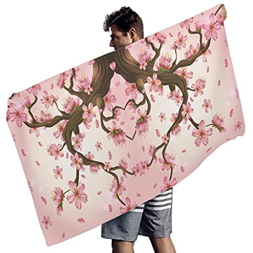 Rtisandu Toalla de playa rectangular japonesa con flores de cerezo y ciruela, absorbente, toalla de playa, toalla de deporte, para adultos y niños, color blanco, 150 x 75 cm