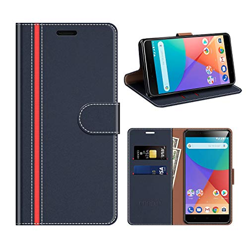 COODIO Funda Cuero Xiaomi Mi A1, Funda Xiaomi Mi A1, Funda Cover Rugged Xiaomi Mi A1 Case con Magnético/Cartera/Soporte para Xiaomi Mi A1, Azul Oscuro/Rojo