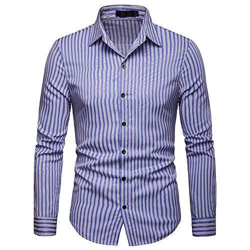 SEESEE.U Herren Langarmhemd Herren Slim Fit Hals Einfarbiges Hemd Baumwollstreifen Revers mit Taschen (S-XXL) Für Party Business Work Tägliches Button Down Shirt (Farbe: Blau, Größe: XL)