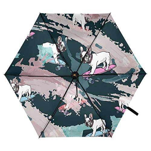 Portable Umbrella Windproof Travel Parasol - French Bulldog Folding Umbrella Rain UV Protection Sun Parasol Lightweight Purse Umbrella