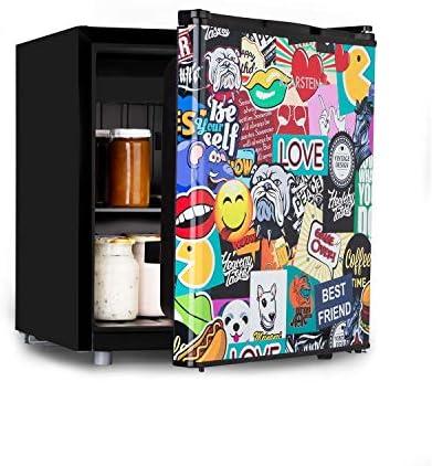 Klarstein Cool Vibe - Nevera, eficiencia energética Fe clase F, VividArt: puerta con diseño de pegatinas impresas, congelador, emisión ruido de tan solo 42 dB, volumen de 48 litros, negro