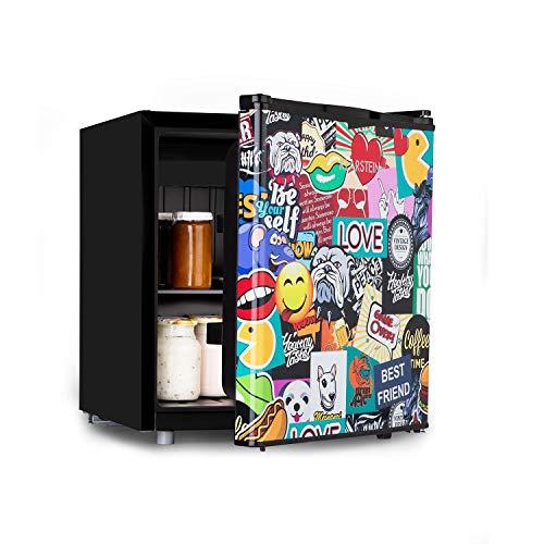 Klarstein Cool Vibe - Nevera, eficiencia energética de clase A+, VividArt: puerta con diseño de pegatinas impresas, congelador, emisión ruido de tan solo 42 dB, volumen de 48 litros, negro