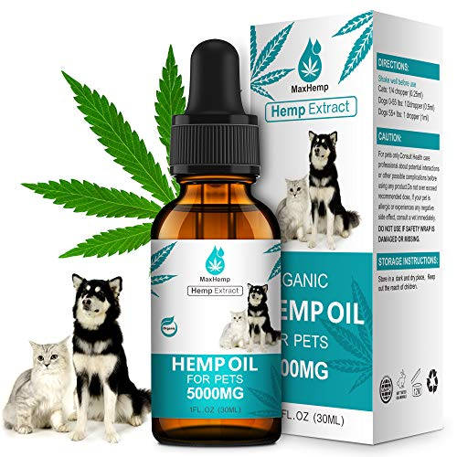 MaxHemp Organic Hemp Oil for Dogs and Cats  for Pain Anxiety Arthritis Relief  Natural Calming Aid for Pet  Omega 3 6 9  Vitamin C E