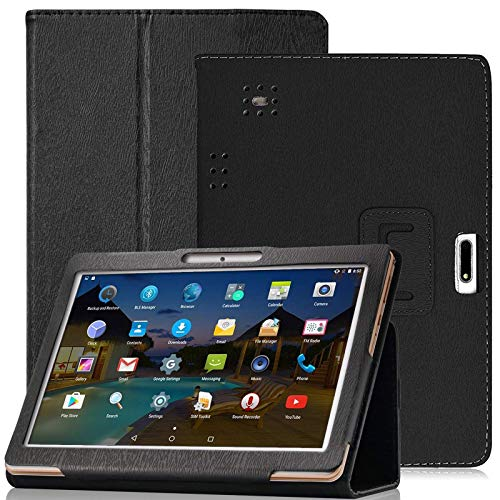YELLYOUTH 10.1 inch Android Tablet Case,DETUOSI PU Leather Folio Cover Compatible with Yuntab 10.1 (K107/K17),Plum 10