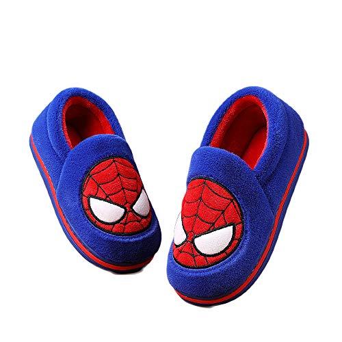 WEIR Zapatillas de algodón Spiderman para niños Zapatos de Interior cálidos de Felpa de Invierno Zapatos para el hogar con Deslizamiento Suave para niños,Blue-26EU