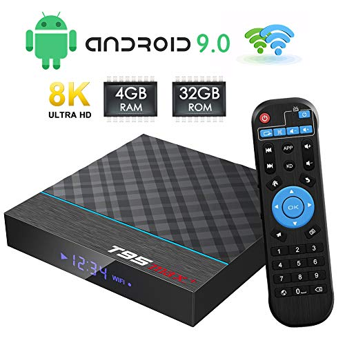TUREWELL Android Box, T95 MAX+ Android 9.0 TV Box Amlogic S905X3 Quad-Core cortex-A55 4GB RAM 32GB ROM Media Player with 8K BT4.0 2.4G/5.0GHz Dual-Band WiFi