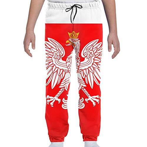 merahans Poland Flag with White Royal Eagle Kids Jogger Pants Fashion Trouser Sweatpants