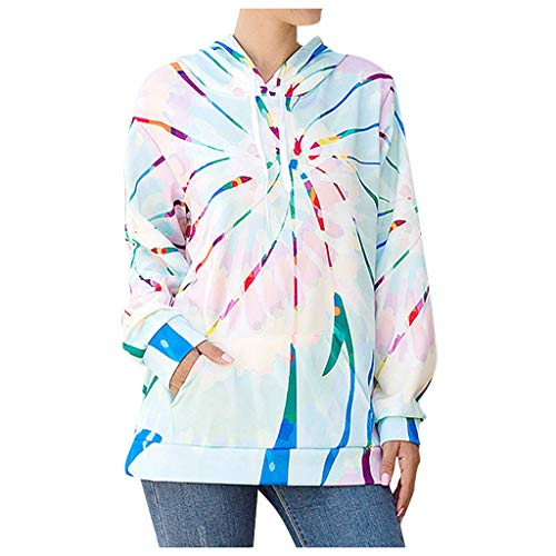 Fashion Hoodies & Sweatshirts Women Loose Tie-Dye Printed Pullover Casual Long Sleeve Tops E-Scenery Blue