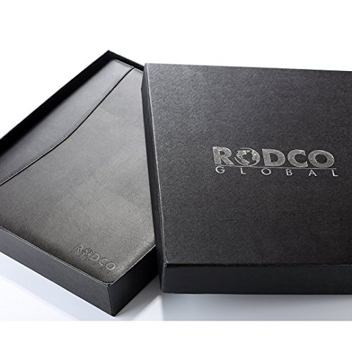 Rodco Global Executive Portfolio Padfolio - Zippered Premium PU Leather with 4 Ring Binder, Phone/Tablet Pockets, A4 Notepad (8.3