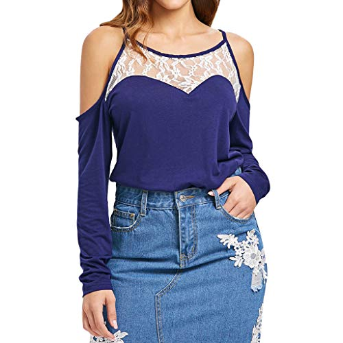 Women Tops,Meet&sunshine Fashion Women Casual Camis Lace Hollow Out Long Sleeve Patchwork Slim Tops (S)