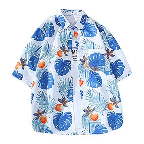 Camisa de manga corta para mujer, unisex, estilo hawaiano, informal, manga corta, estilo tropical, vintage Blanco XXL
