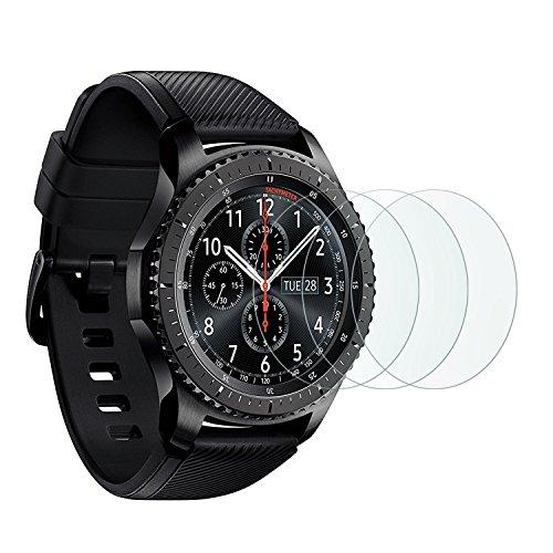 [3 Stück]OMOTON Panzerglasfolie für Samsung galaxy Watch 46mm / Samsung Gear S3 frontier und Gear S3 Classic und, 9H Härte, Anti-Kratzer, Anti-Öl, Anti-Bläschen,2.5D