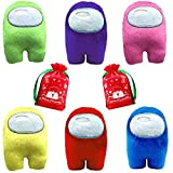 6PCS Soft Plush Among Us Toy , Among Us Game Plush Toy with Music Cute Small Among Us Plushies Toys Gifts for Game Fans Crewmate ( Blue + Pink + Green + Purple + Red + Yellow )