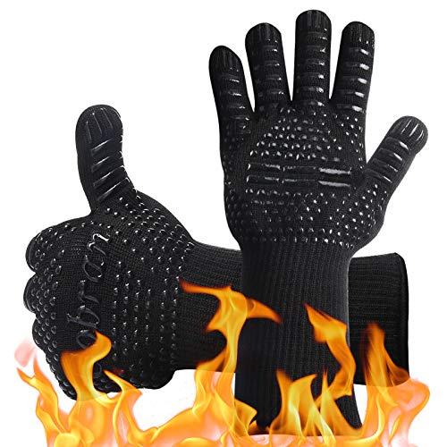 Guantes de Barbacoa Guantes de Horno Guantes de Cocina Resistentes al Calor de hasta 800°C, 1 Par Universal Oven Gloves Antideslizantes con Silicona para Barbacoa Parrilla Hornear Microondas (Negro)