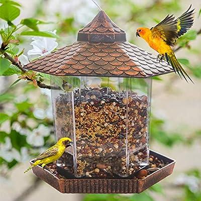 Funpeny Hanging Wild Bird Feeder, Gazebo Bird Feeder and Garden Decoration for Bird Watchers and Children, Golden