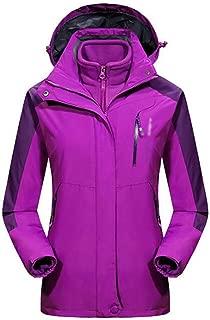 FYXKGLa Women's Plus Velvet Jacket Windproof Waterproof Warm Jacket Hooded Mountaineering Suit (Color : Purple, Size : XXXXXL)